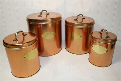 vintage copper colored canister set by auctionjunkies on etsy