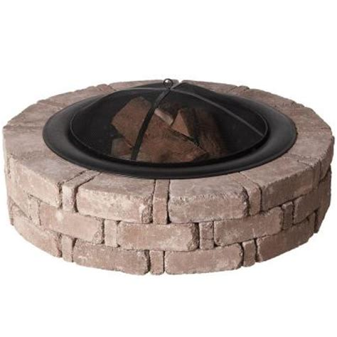 Home Depot Firepits Pavestone 45 8 In X 10 5 In Rumblestone Pit Kit In Cafe Rsk50169 The Home Depot