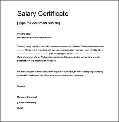 Salary Certificate Letter Format Word Salary Certificate Template Doc Free Sle Templates
