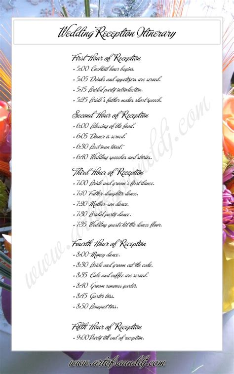 6 best images of reception agenda printable wedding