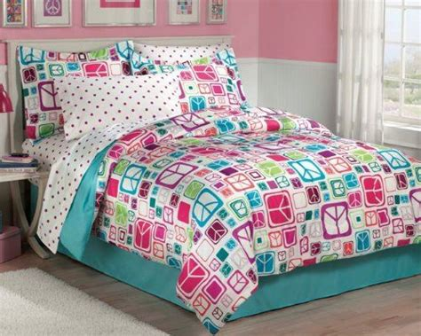 pink and turquoise bedding retro peace signs turquoise pink girls comforter set at