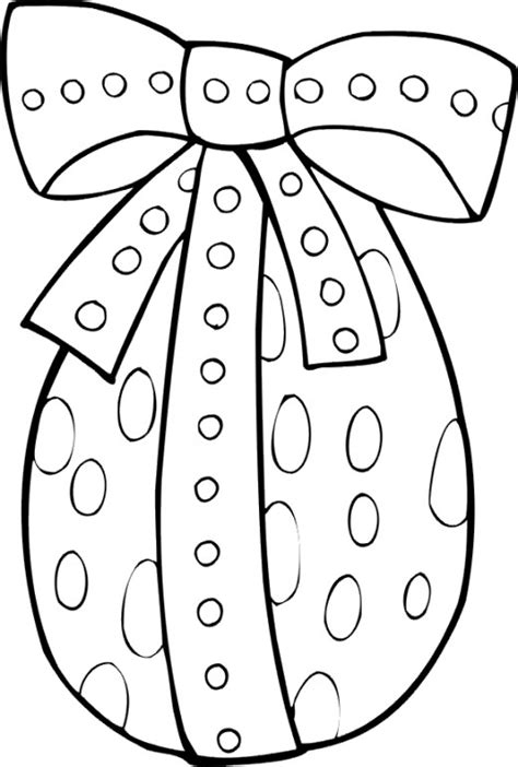 Easter Themed Coloring Pages easter egg with spotted ribbon bow