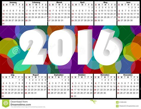 2016 horizontal calendar with rainbow overlapping colorful