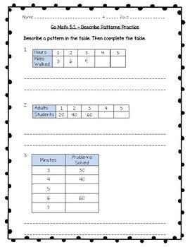 describing a pattern in math go math practice 3rd grade 5 1 describe patterns