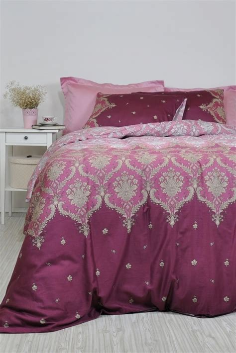 Set Meggy Dustypink damask bedding in dusty pink maroon marsala for king cotton sateen moroccan style