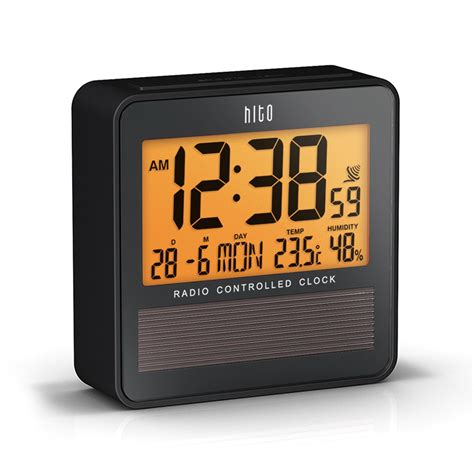hito atomic radio controlled travel alarm clock w date temperature humidity ebay