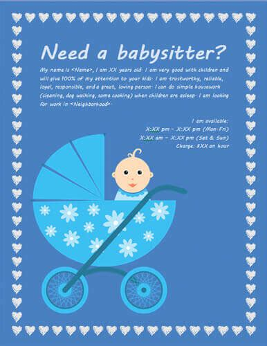 Babysitting Flyers And Ideas 16 Free Templates Baby Sitting Flyer Template