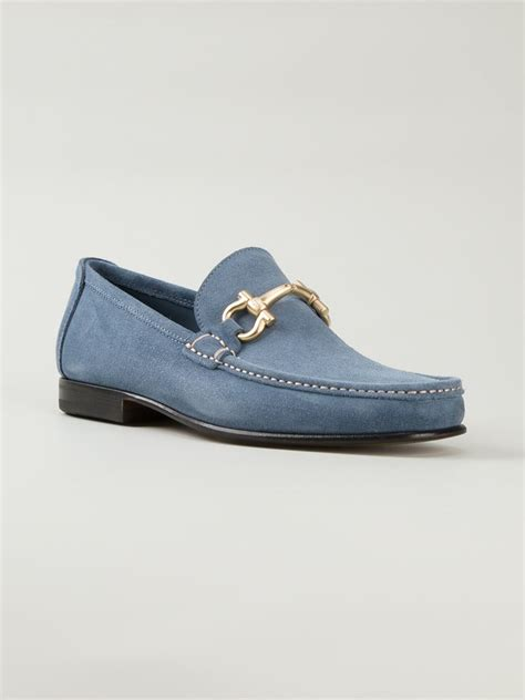 blue loafers ferragamo giordano loafers in blue for lyst