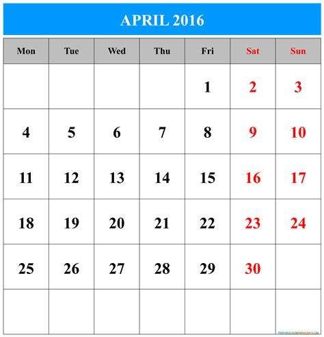 printable calendar for 2016 april calendar 2016 printable free printable 2017 calendar