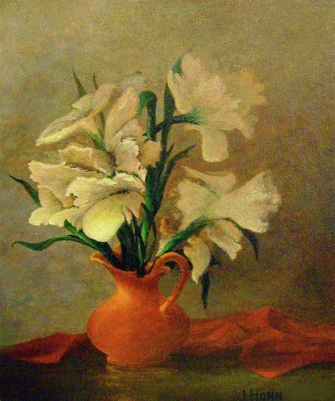 Vase Painting by Flowers In Orange Vase Painting By Jerry Honn