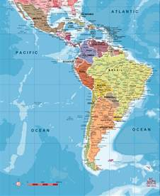 map of south america and the caribbean america