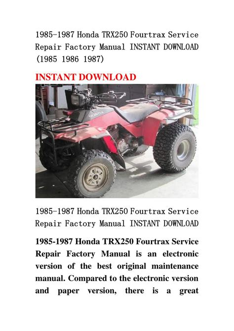 service and repair manuals 1987 honda accord electronic valve timing 1985 1987 honda trx250 fourtrax service repair factory manual instant download 1985 1986 1987