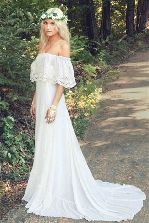 beach themed clothing line off the shoulder 2018 bohemian wedding dresses lace summer
