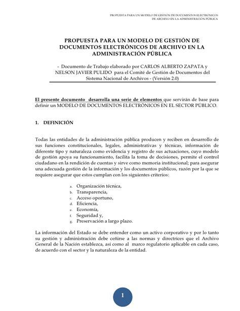 carta remisoria de la propuesta propuesta para un modelo de gesti 243 n de documentos electr 243 nicos de arc