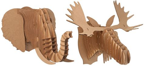 cardboard safari animal trophies