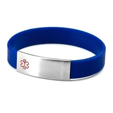 Blue Silicone Bracelet with Removable Stainless Steel Medical ID Tag