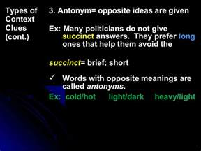 Brief Opposite Word Antonyms As Context Clue