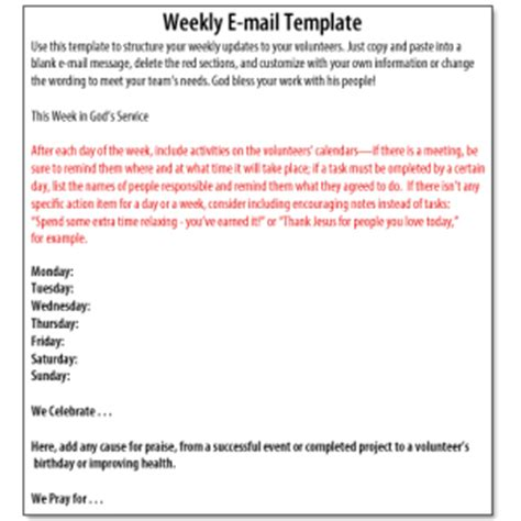 volunteer email template volunteer management weekly update template