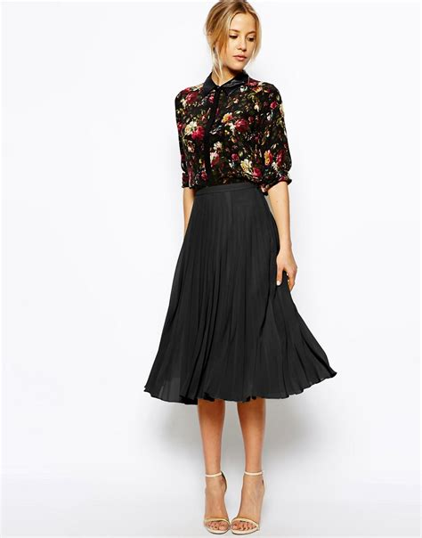 asos asos pleated midi skirt at asos