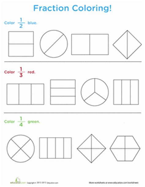 Fraction Coloring Page 5th Grade by Fraction Coloring Worksheet Education