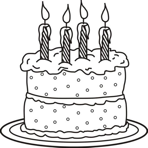 coloring pages birthday cake candles 4 candles on cake photo