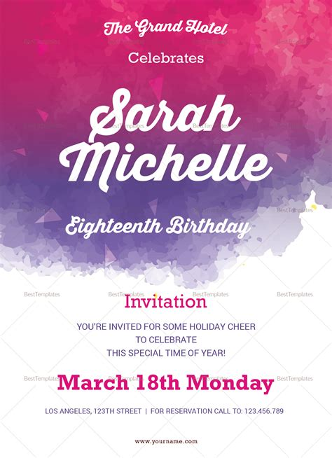 invitation card template for debut watercolor debut invitation design template in word psd