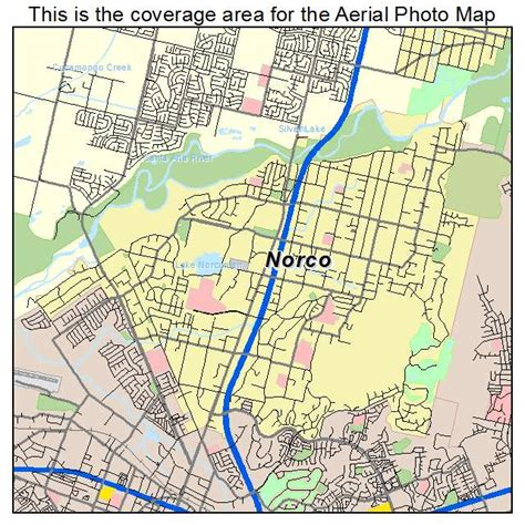 aerial photography map of norco ca california