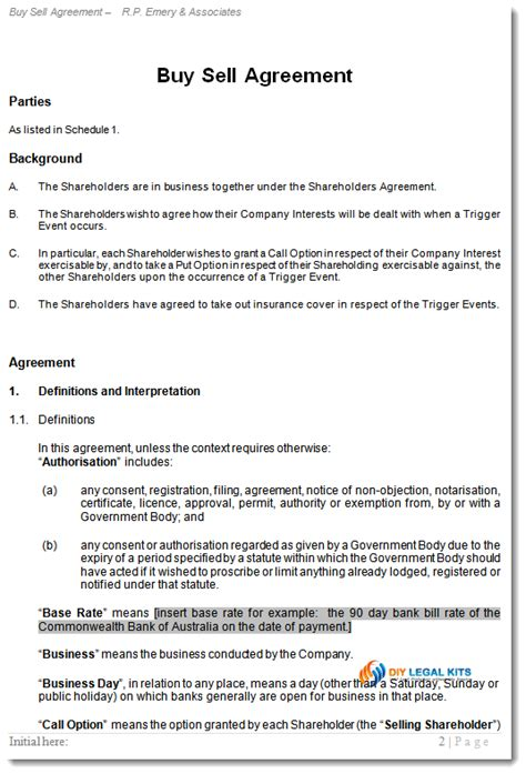 Shareholder Buy Sell Agreement Buy Out Contract Buyout Agreement Template Free