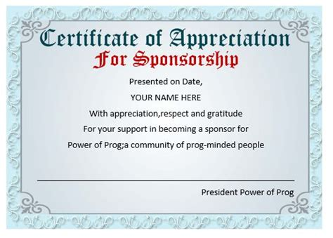 Certificate Of Appreciation For Sponsorship Template 50 professional free certificate of appreciation