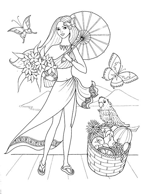 printable coloring pages of a girl fashionable girls coloring pages 1 coloring pinterest