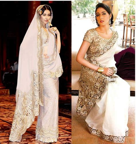 And Gold Sari white and gold wedding sari www imgkid the image