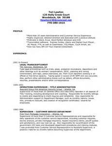 transcriptionist cover letter sle cover letter for resume transcriptionist
