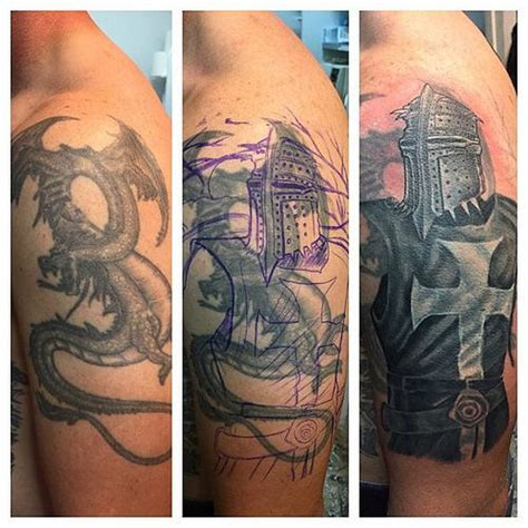 big cover up tattoos session on this big templar cover up