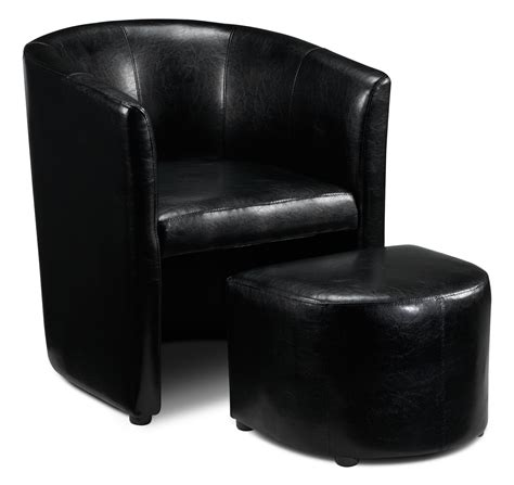 Elton Tub Chair And Ottoman Black Leon S