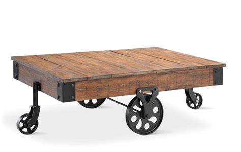 Industrial Wheeled Coffee Table Industrial Evolution Factory Furniture For Your Home