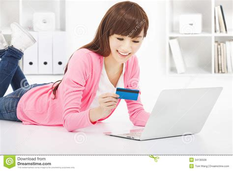 happy shopping at home stock photo image