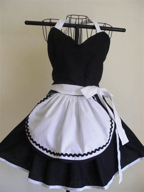 Pattern For Maids Apron | french maid apron pinup retro style black by