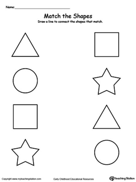 printable shapes matching game match the shapes worksheets activities and shapes