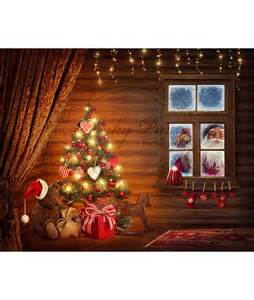 Holiday Backdrops Christmas Holiday Peeking Santa Window Vinyl Photography Backdrop