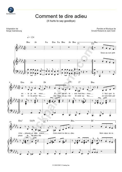 francoise hardy tous les garcons chords comment te dire adieu piano sheet music fran 231 oise hardy