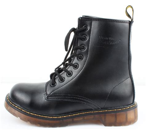 dr womens combat lace up boots shoes us 7 black