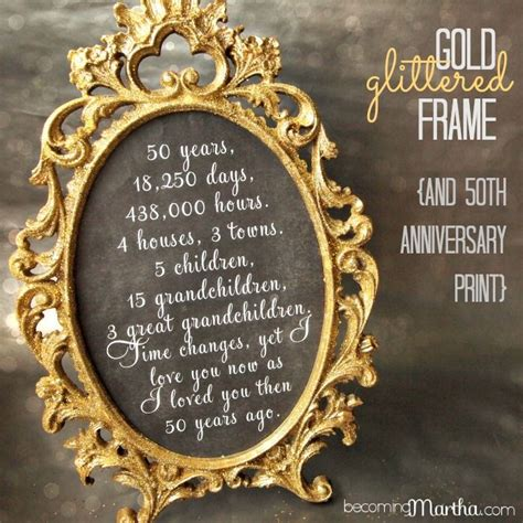 50th Wedding Anniversary Reception Ideas by Gold And Glittered Frame And Print 50th Anniversary