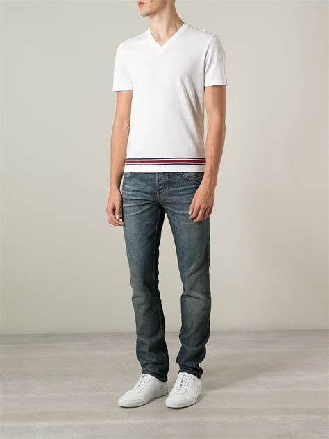 Gucci T Shirt V lyst gucci v neck t shirt in white for