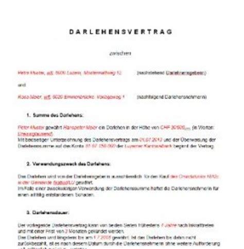 privatkredit mustervorlage lebenslauf darlehensvertrag vorlage schweiz muster und vorlagen