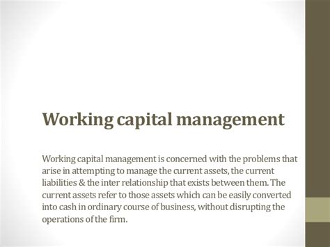 Working Capital Management Project Report For Mba by Project Report On Working Capital Management