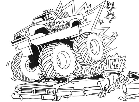 free printable monster truck coloring pages kids