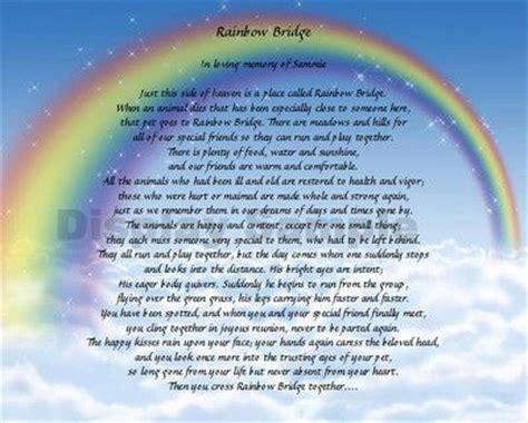 printable version of the rainbow bridge poem rainbow bridge poem personalized memorial loss of pet