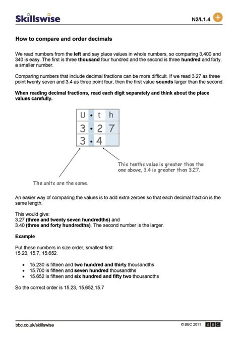 Comparing And Ordering Decimals Worksheets by Image Gallery Ordering Decimals