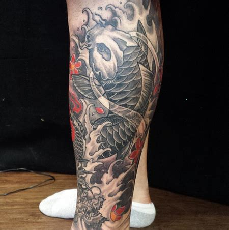 koi fish calf tattoo depiction tattoo gallery tattoos body part leg sleeve