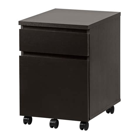 malm drawer unit on casters black brown